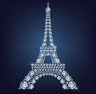 diamonds eiffel tower vector background