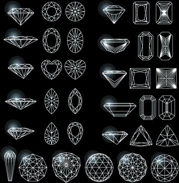 diamonds outline design vector
