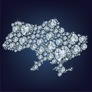 diamonds with map vector background