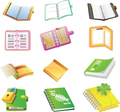 notebook icons colorful modern 3d sketch