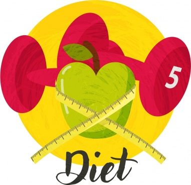 diet background dumbbel apple ruler icons 3d design