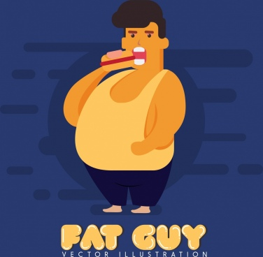 diet banner fat guy icon colored cartoon design