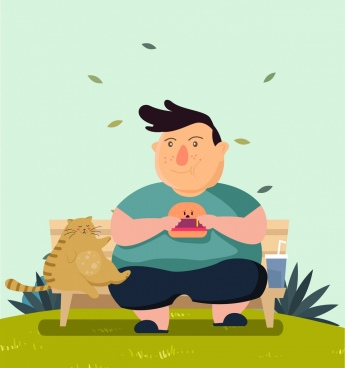 diet banner fat man fat cat colored cartoon