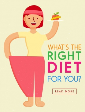 diet banner slim woman icon webpage design