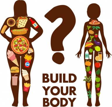 diet banner women silhouettes fast food vegetables icons