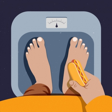 diet concept drawing weight legs hotdog icons
