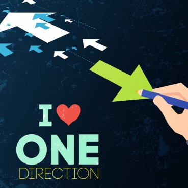 difference concept banner directional arrow writing hand