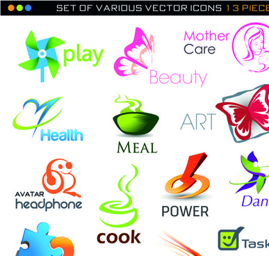 different 3d logos design elements vector