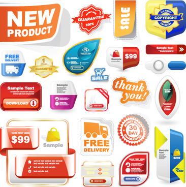 different advertisement sticker design vector set