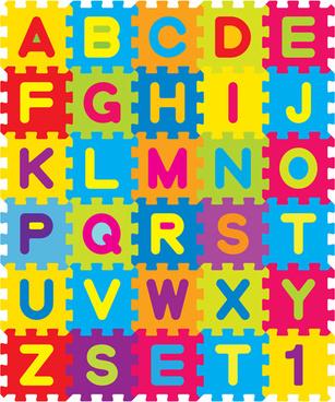 different alphabet elements vector graphics