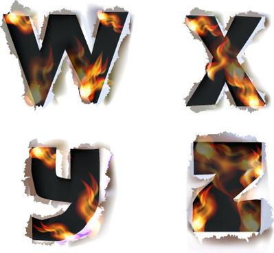 different alphabet fire paper vector