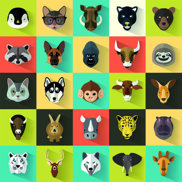 different animal head icons vector set