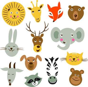 different animals heads vector