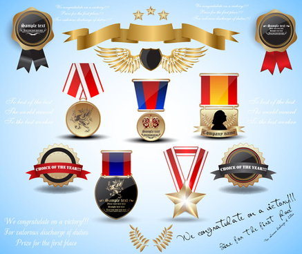 different award design elements vector