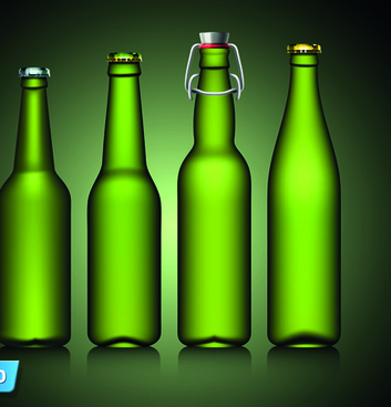 different beer bottle design elements vector