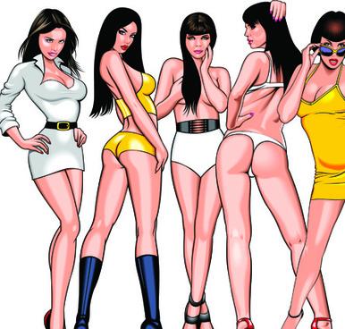 different bikini girl vector
