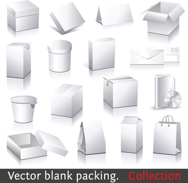 different blank packaging design vector set