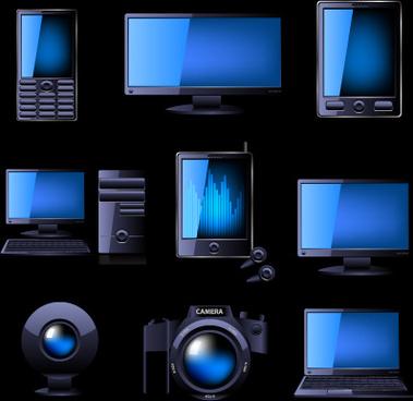 different blue icons appliances design vector