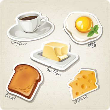 different breakfast food vector icons