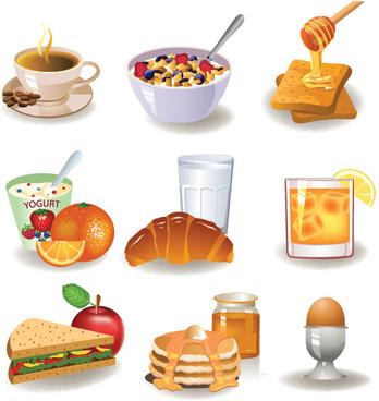 different breakfast vector art