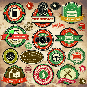 different car service labels vector