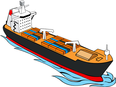 different cargo ship design vector graphic