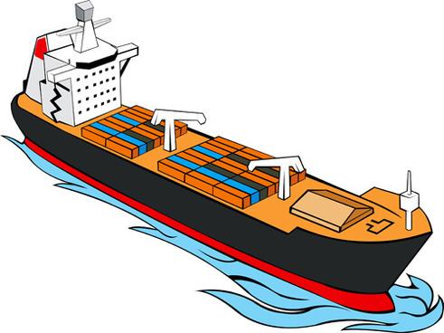 different cargo ship design vector graphic