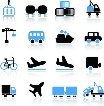 different cargo with transport icons vector