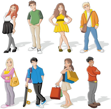 different cartoon boys and girls vector