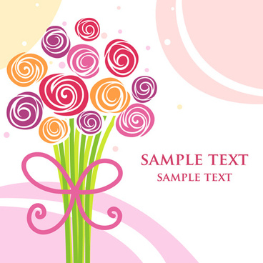 different cartoon flower mix design vector
