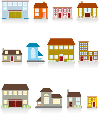 different cartoon houses elements vector