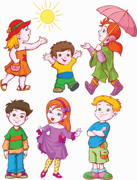 different cartoon kids design vector