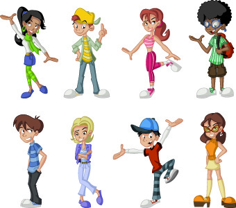 different cartoon people design vector
