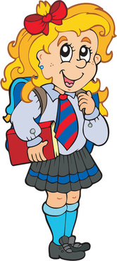 different cartoon school child image vector