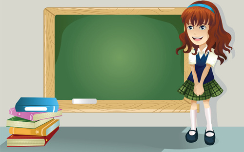 Different cartoon school child image vector