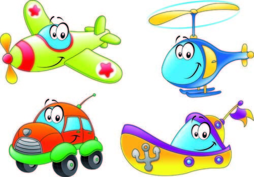 different cartoon transportation tool vector