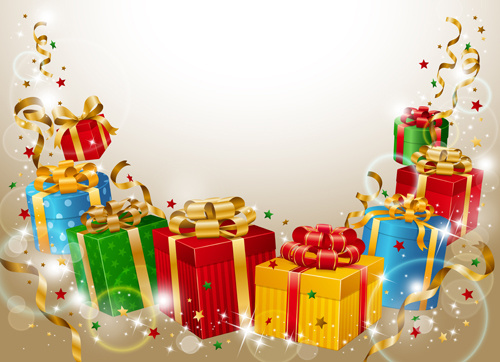 different christmas gifts box design elements vector