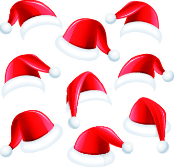 different christmas hat vector set