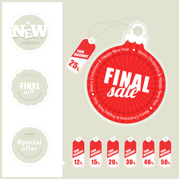 different christmas sale tags elements vector