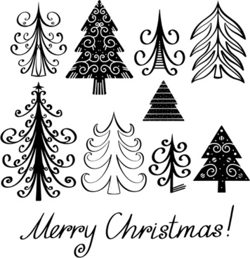 different christmas tree design vector