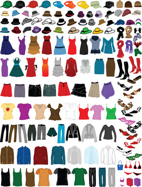 different clothes elements vector