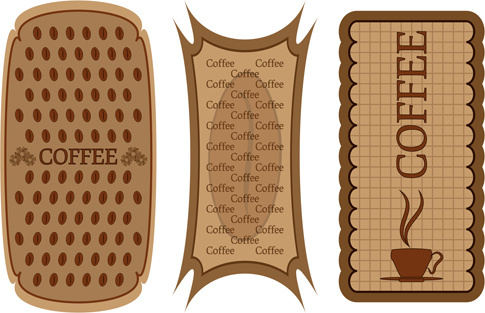 different coffee elements vector background set