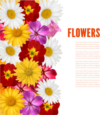 different colored flower with background vector