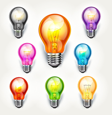 different colored light bulb vector