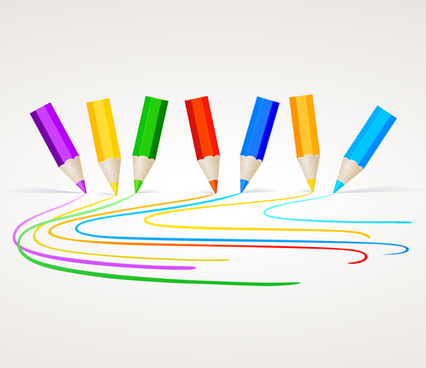 different colored pencil vector set
