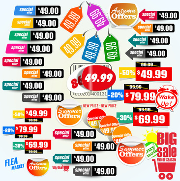 different colored promo tags vector set
