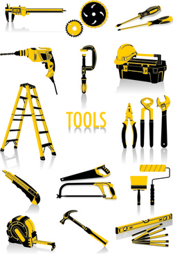 different construction tools set vector