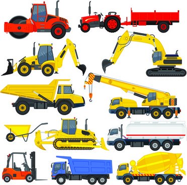 different construction vehicles creative vector