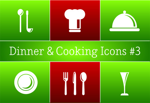 different cooking icon vector