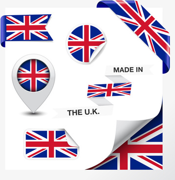 different countries flag sticker with ribbon vector